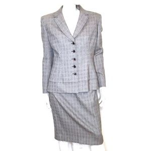 Badgley Mischka | 80s houndstooth wool skirt suit